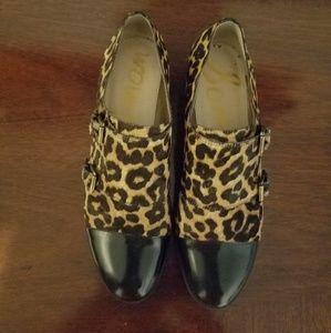 SAM EDELMAN  sz 9 leather/leopard calf-hair loafer